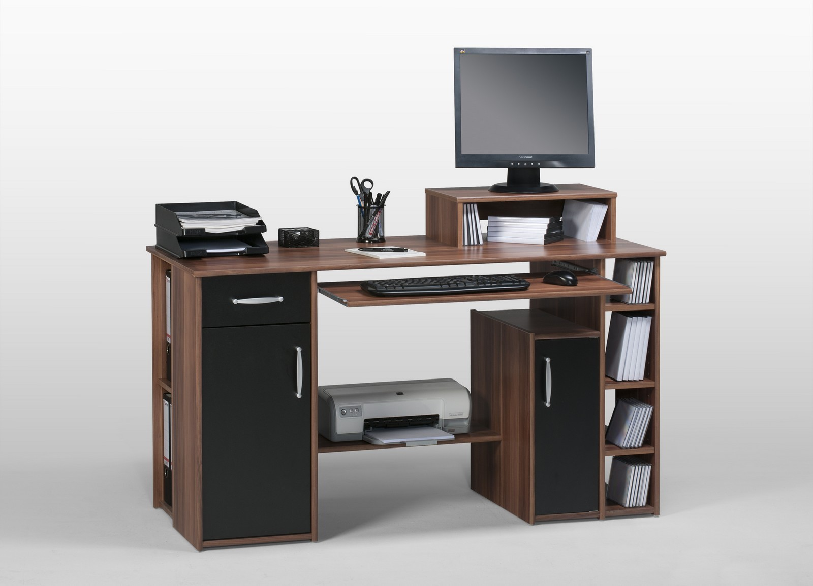 computertisch nussbaum schwarz bestseller shop f r m bel und einrichtungen. Black Bedroom Furniture Sets. Home Design Ideas