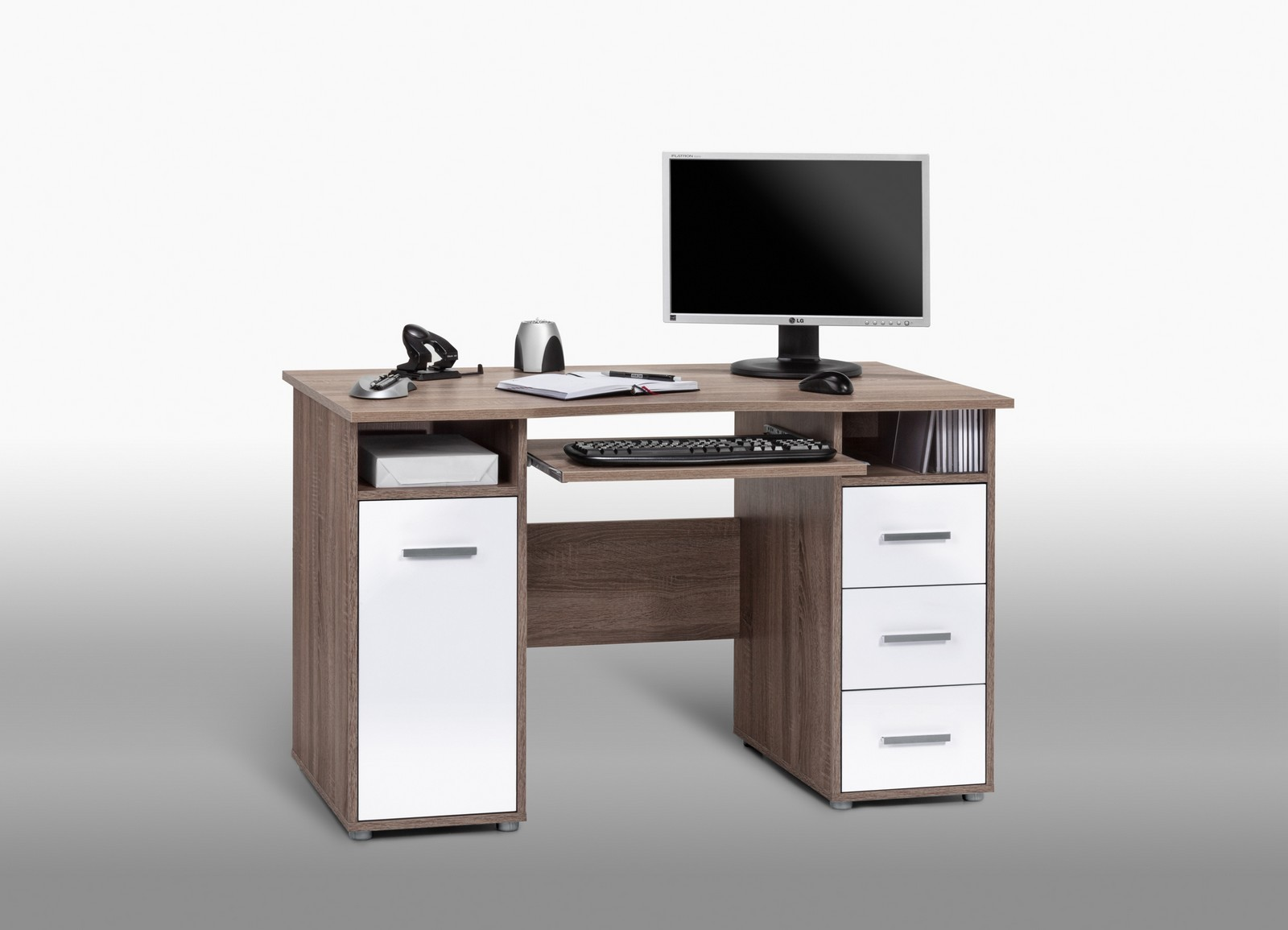 computertisch pc tisch roy eiche tr ffel s gerau wei ebay. Black Bedroom Furniture Sets. Home Design Ideas