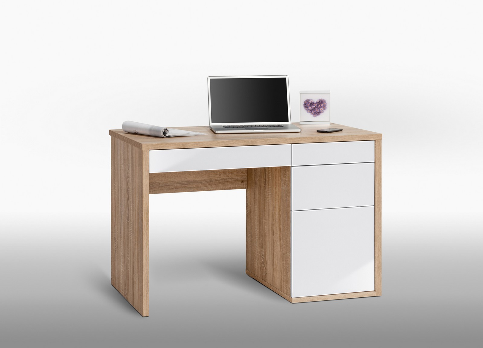 schreibtisch computertisch pc tisch billy in eiche hg ebay. Black Bedroom Furniture Sets. Home Design Ideas