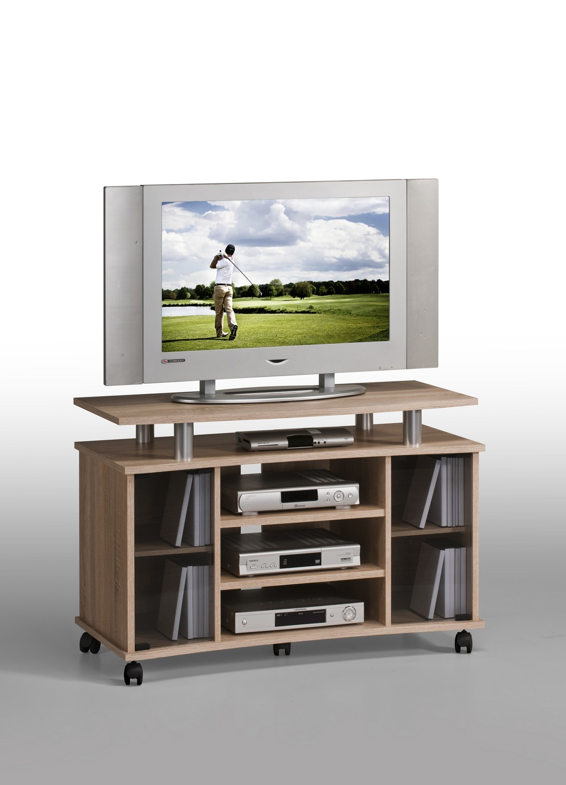 tv tisch tv bank tv wagen palermo in sonoma eiche alu. Black Bedroom Furniture Sets. Home Design Ideas