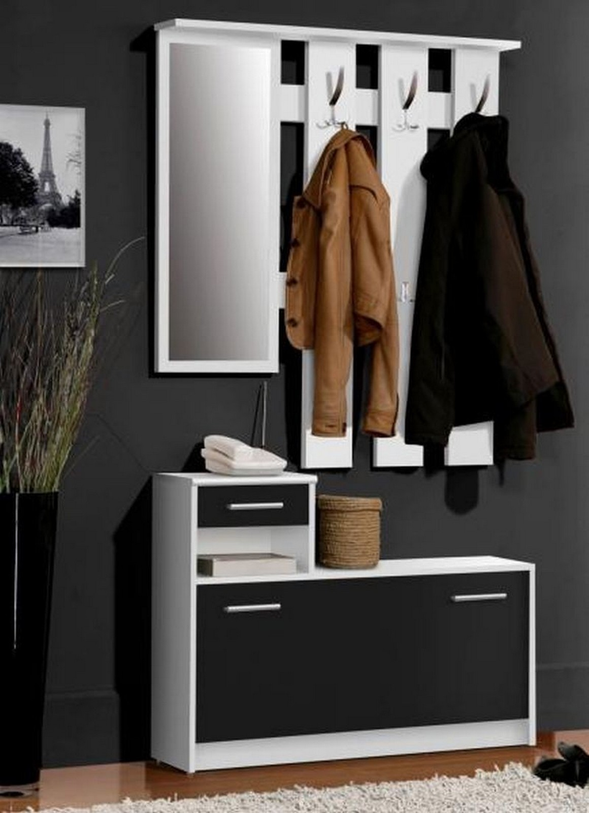garderoben set garderobe flurgarderobe wei schwarz ebay. Black Bedroom Furniture Sets. Home Design Ideas